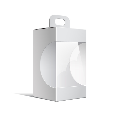 plastic window: Light Realistic Package Cardboard Box with a handle and a transparent plastic window. illustration