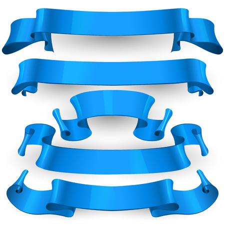felicitation: Realistic Blue Glossy ribbons set Illustration