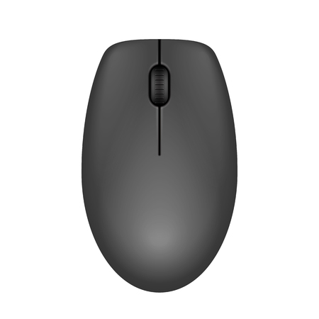 Dark gray realistic computer mouse. Matte finish soft touch. Vector illustration on white background.