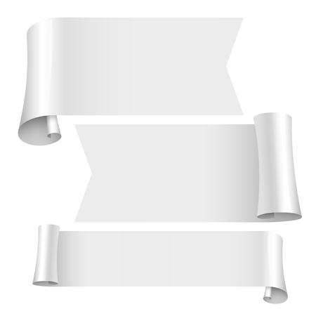 copy paste: blank scrolls of white paper stickers set on white background. Vector illustration Illustration