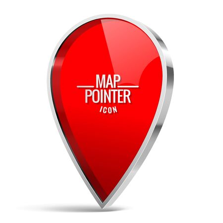 icon red: Shiny gloss red Map pointer icon. Vector illustration