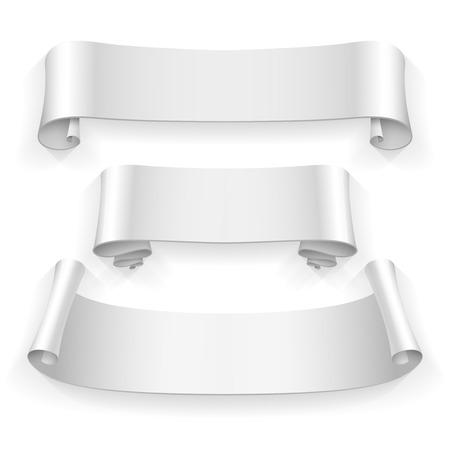 wrapped corner: blank scrolls of white paper stickers set on white background. Vector illustration Illustration