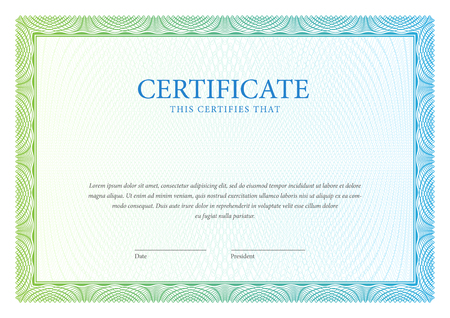 Certificate. Vector pattern that is used in currency and diplomas Çizim