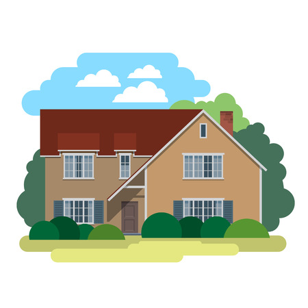 dwelling: House. Sweet home. Illustration in a flat style house in spring or summer season.  Vector icon.