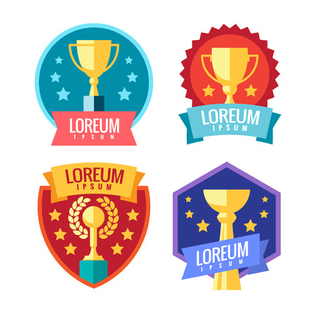 achieving: Cup winner logo. Emblems set. The idea of achieving victory. Logo competition. Trophy in flat style. Vector sign template.
