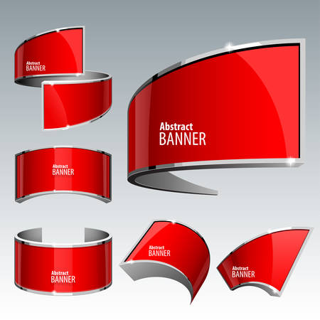 volume discount: Shiny gloss red vector banner set. eps 10