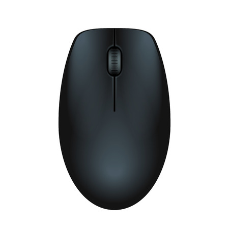 Black realistic computer mouse. Matte finish soft touch. Vector illustration on white background. Stock fotó - 54326125
