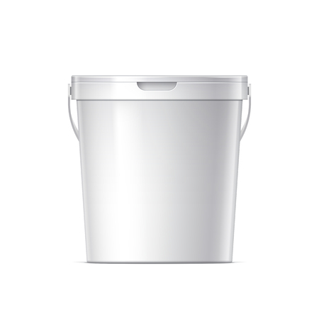 foodstuff: White plastic bucket with White lid. Product Packaging For food, foodstuff or paints, adhesives, sealants, primers, putty. MockUp Template For Your Design. Vector illustration.