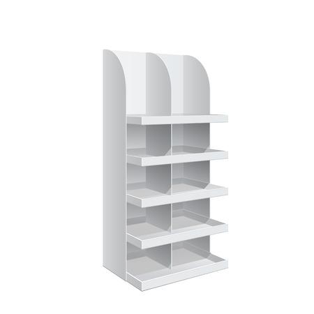 is slender: Promotion shelf. Retail Trade Stand Isolated on the white background. Slender white shelves. Mock Up Template. Vector illustration.