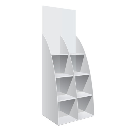 product display: Promotion shelf. Retail Trade Stand Isolated on the white background. Slender white shelves. Mock Up Template. Vector illustration.