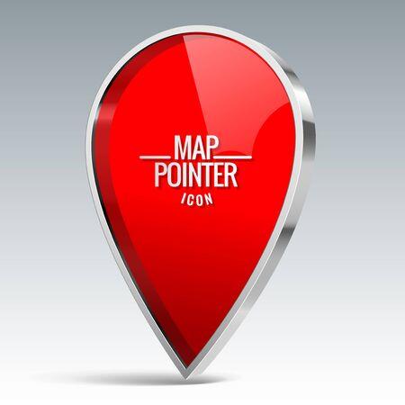 Lucido rosso lucido Mappa puntatore sull'icona. illustrazione di vettore Vettoriali