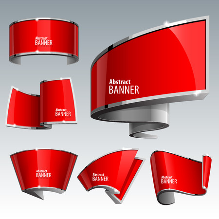 Shiny gloss red vector banner set. eps 10