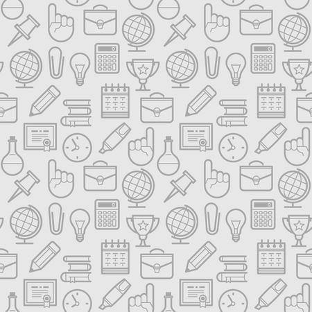 Modèle sans couture de l'éducation. Fond d'école avec des icônes de la ligne. conception de vecteur.