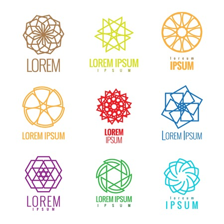 colorfully: Logo element set. ?olorful Abstract shapes forming circles, stars, hexagons and other shapes. Linear design. Vector sign template. Illustration