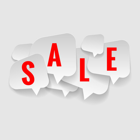 Set of stickers cut from paper. Discount price tags. Vector. Illustration