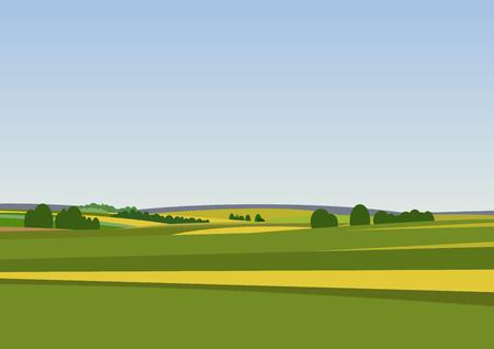 landschap: Groen landschap met gele velden. Mooie landelijke natuur. Onbeperkte ruimte. Vector illustratie. Stock Illustratie