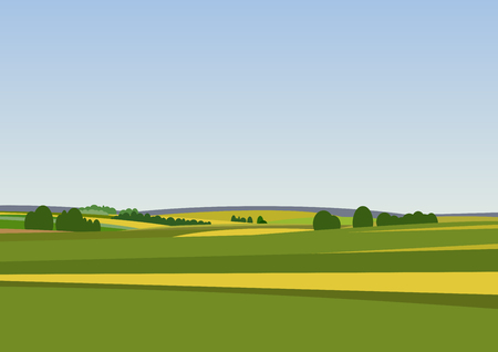 Green landscape with yellow fields. Lovely rural nature. Unlimited space. Vector illustration. Illustration