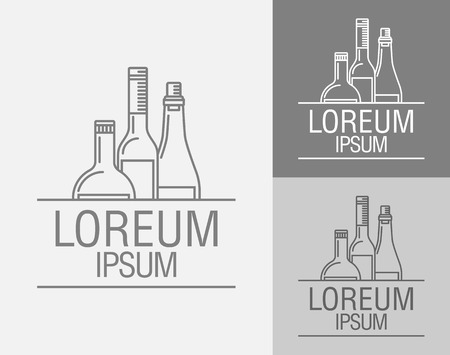 port wine: Vector sign template. Bottles of wine, brandy, port wine   of the winery, alcohol plant, drinking establishment, a emblem in the drinks menu. Illustration