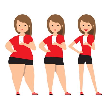 etapas de pérdida de peso antes y después. Chica en ropa deportiva hace autofoto. Ilustración proceso de obesidad. Los problemas de sobrepeso de la gente gorda. Ilustración del vector.