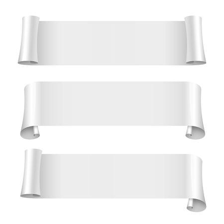 wrapped corner: white ribbons set. blank scrolls of white paper on white background. Vector illustration Illustration