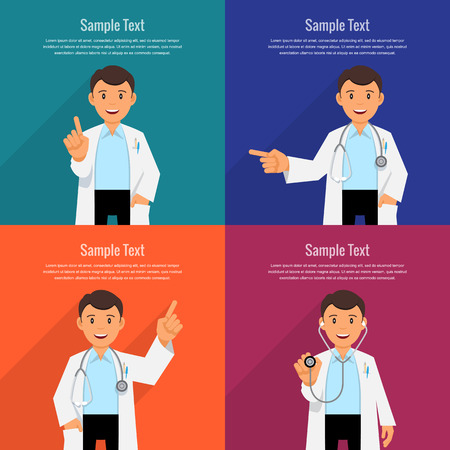 take medicine: Character doctor in a white coat with a stethoscope. Set banner for health care. Vector illustration. Flat Design