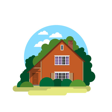sold small: House. Sweet home. Illustration in a flat style house in spring or summer season.  Vector icon.