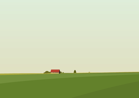 Green landscape with lonely house located on the horizon. Vector illustration.