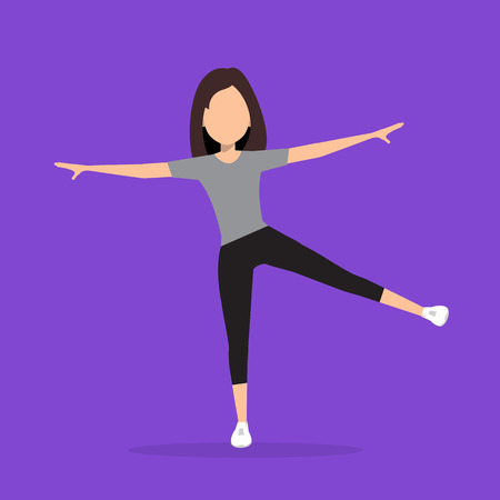 out of body: Aerobics. Train create a beautiful figure. Pulling muscles of women. Dropping excess fat. Vector illustration.