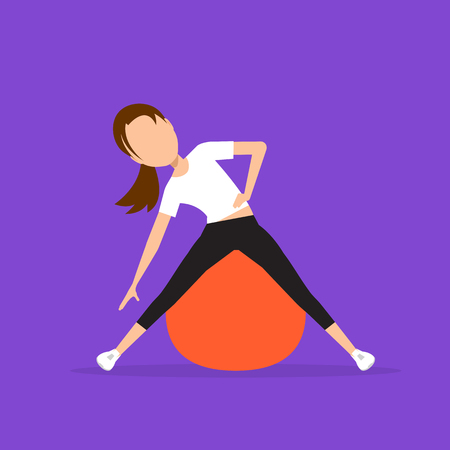 warm up: Aerobics. Train create a beautiful figure. Exercises on the ball. Pulling muscles of women. Dropping excess fat. Vector illustration.