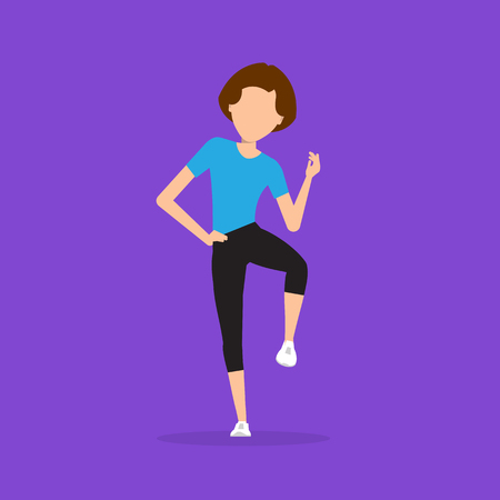 impersonal: Aerobics. Train create a beautiful figure. Pulling muscles of women. Dropping excess fat. Vector illustration.