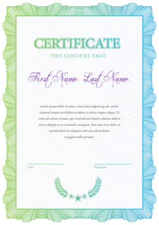 currency: Certificate. Template diplomas, currency. Vector