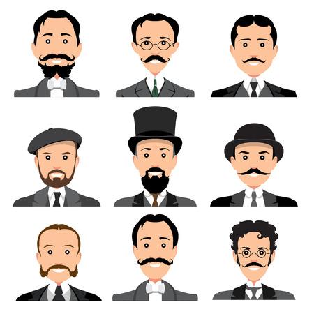 sir: Vintage gentleman portrait set. Retro Collection of diverse male faces. Design flat avatar for social media. Vector illustration. Illustration