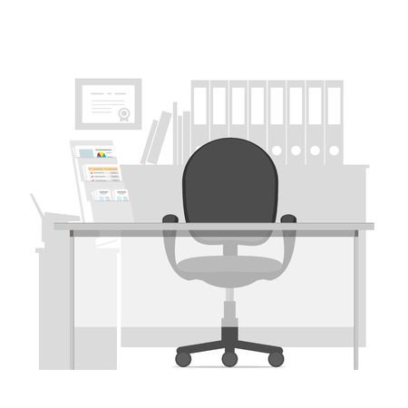 bank interior: Workspace, for a specialist in a bank, consultant or manager in office interior. Vector illustration. Illustration