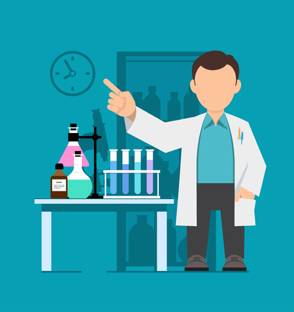 biology instruction: Character, scientist, teacher, doctor in science research laboratory. Vector illustration of a man in a white coat. Flat style. Illustration