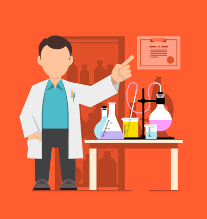 pharmacology: Character, scientist, teacher, doctor in science research laboratory. Vector illustration of a man in a white coat. Flat style. Illustration