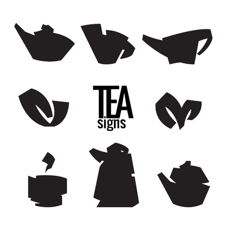 plant to drink: Tea. Stylish elements from the folded strips. Vector signs. Tea icons isolated on white background. Tea leaves, tea pot, cup of tea. Symbols set. Illustration
