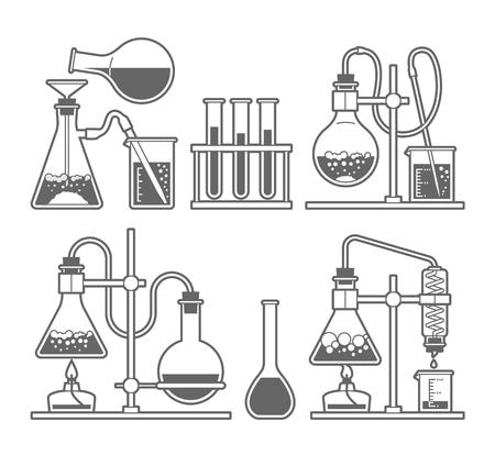 Stel chemische fles. Erlenmeyer, destillatiekolf, volumetrische fles, reageerbuis. Vector illustratie.