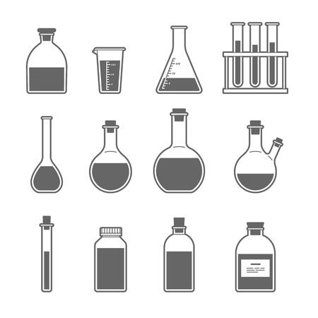 erlenmeyer: Set chemical flask. Erlenmeyer flask, distilling flask, volumetric flask, test tube. Vector illustration.