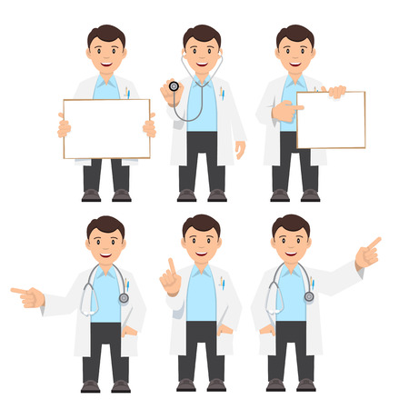 Doctor in a white coat with a stethoscope. Character set. Flat Design Vector illustration. Vector Illustration