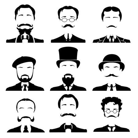 set Vintage gentiluomo ritratto. Retro Collezione di diversi volti maschili. Illustrazione vettoriale.