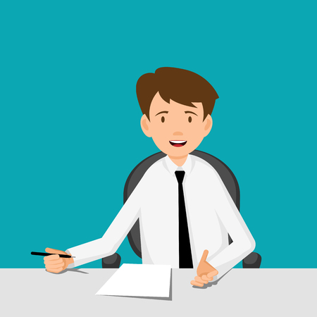 happy business team: Businessman, manager, consultant at work. Offer to sign a contract. Flat Design  Vector illustration.