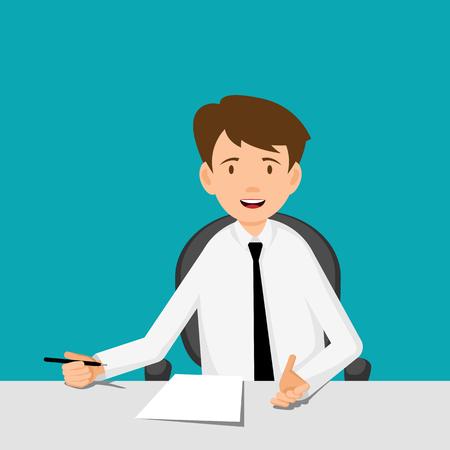 hombre pensando: El hombre de negocios, gerente, consultor en el trabajo. Ofrecer a firmar un contrato. Piso ilustración de diseño vectorial.