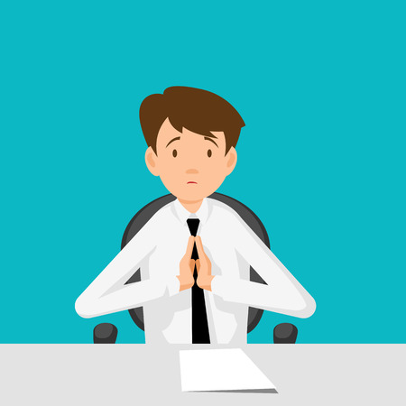 happy business man: Businessman, manager, consultant at work. I beg you, I implore you. Flat Design  Vector illustration. Illustration