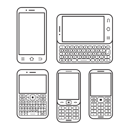 Modern mobile phone set. With QWERTY keyboard, Touchscreen and slider. design concept Black and white vector icon Illustration