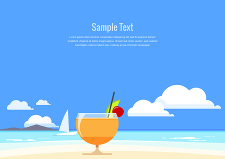 holiday villa: Cocktail with tropical fruit on the background of summer seascape. Flat Design. Vector illustration.
