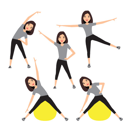 aerobics class: Fitness instructor. A slender girl with long dark hair. A character in various poses.
