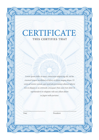 certificate template: Certificate. Template diplomas, currency. Vector