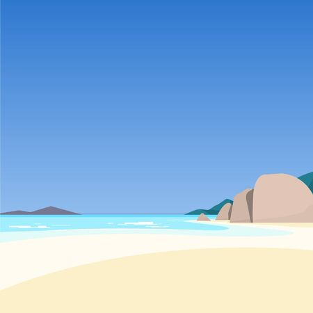 beach panorama: Beautiful seascape. Azure sea and white sand. Vector illustration. Illustration