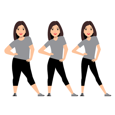 slim woman: stages weight loss before and after. Girl in sportswear makes selfie. Illustration Obesity process. Overweight Problems fat people. Vector illustration.