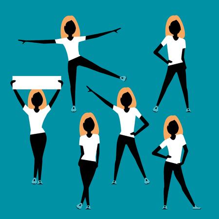 siluetas mujeres: mujeres del deporte. siluetas conjunto. Un personaje de vaus plantea. Vectores